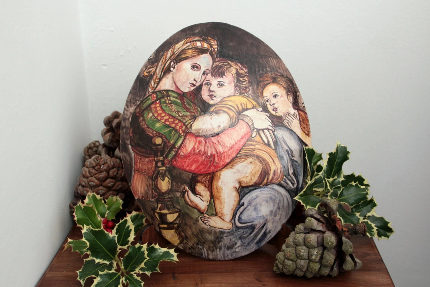 madonna of the chair vintage potty painting raphael by maiolicapatrizia