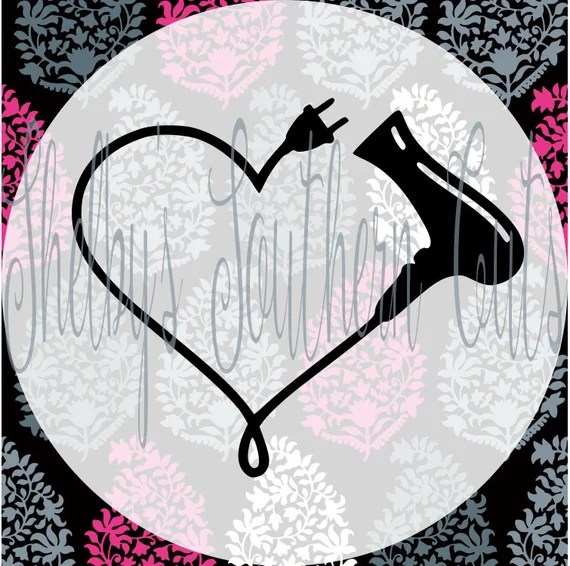 Download Blow Dryer Heart Monogram SVG EPS DXF