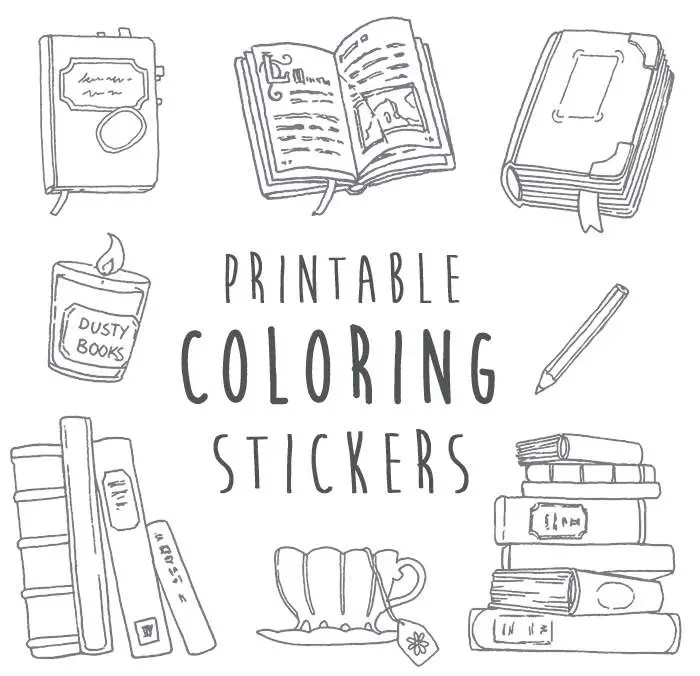 NaNoWriMo Writing & Books Coloring Stickers Printable