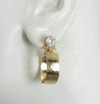 EARRING JACKETS Gold Dangle Hoop Diamond Jackets Earring