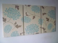 Large Fabric Wall Art Duck Egg Robins Blue Brown Triptych 3