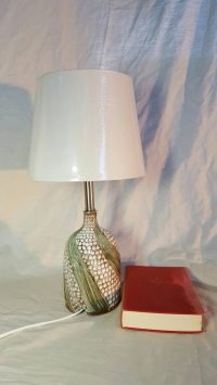 Handmade Pottery Lamp Accent Lamp Table Lamp Green/White