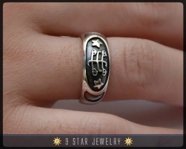 Brs7 Sterling Silver Baha' Ringstone Symbol Ring