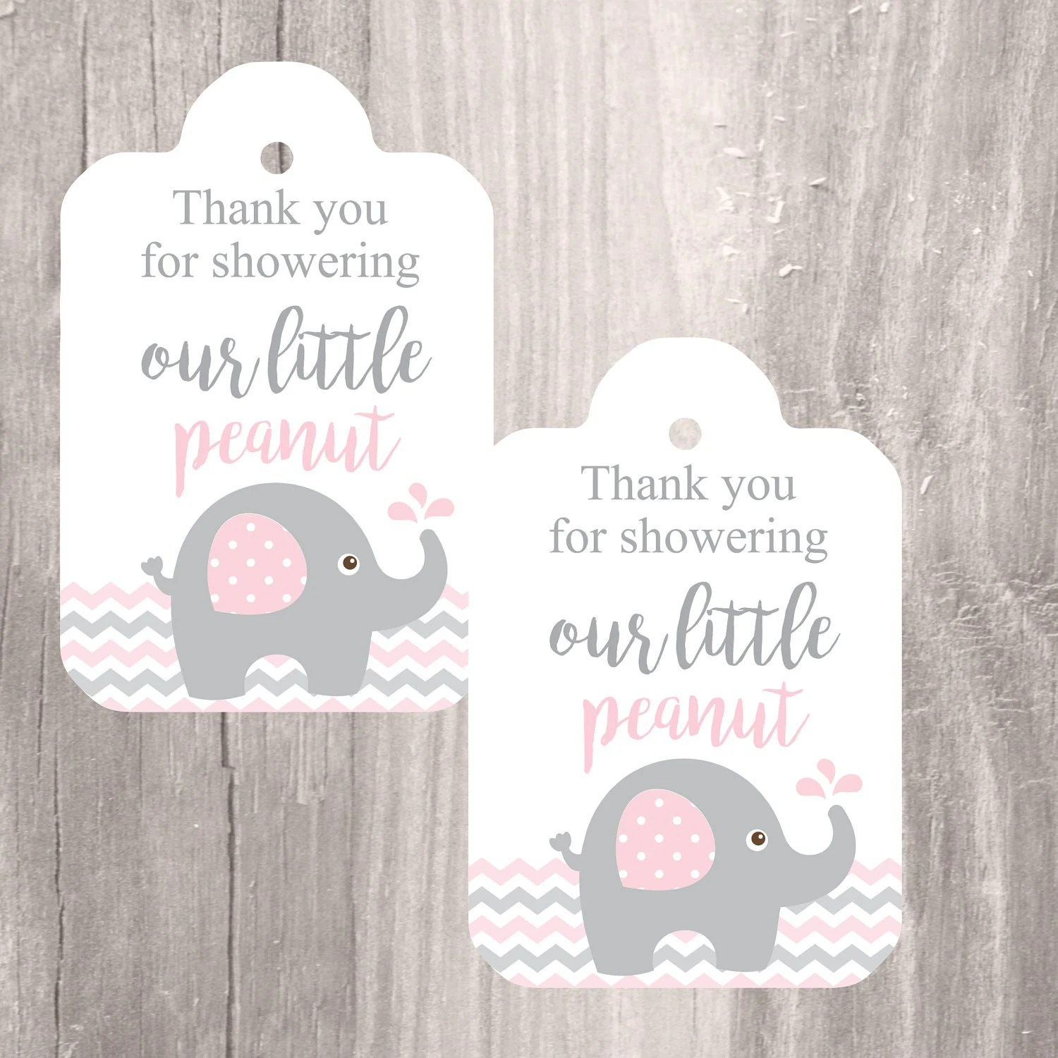 Printable Elephant Baby Shower Favor Tags Pink And Grey Elephant Baby Shower Thank You Tags
