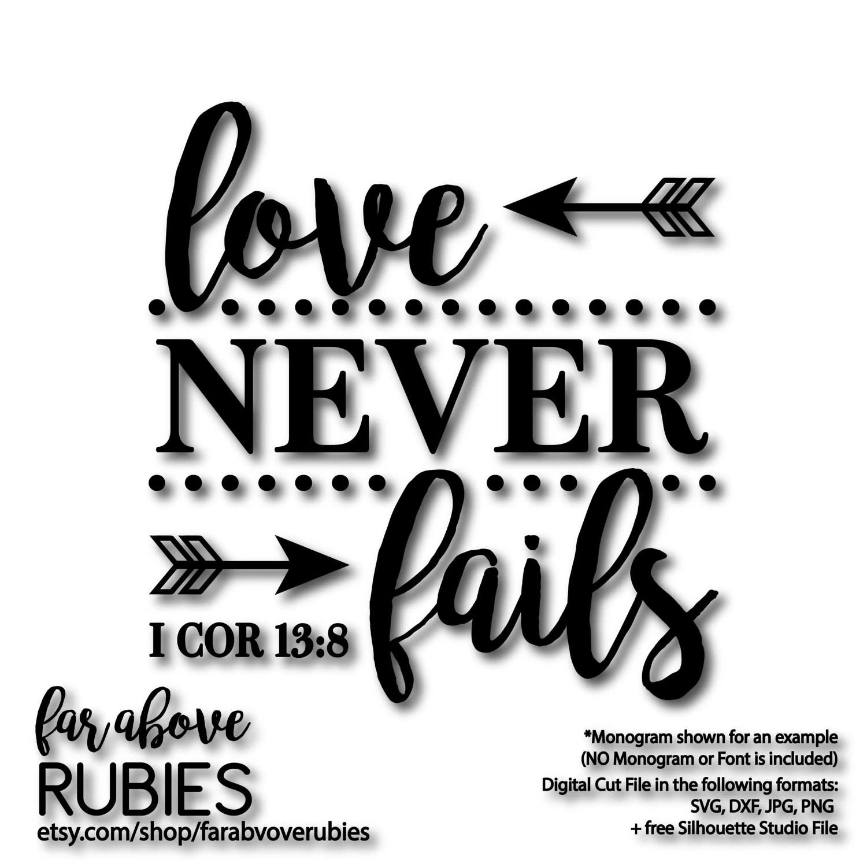 Love Never Fails I Corinthians 13 8 Bible Verse Quote