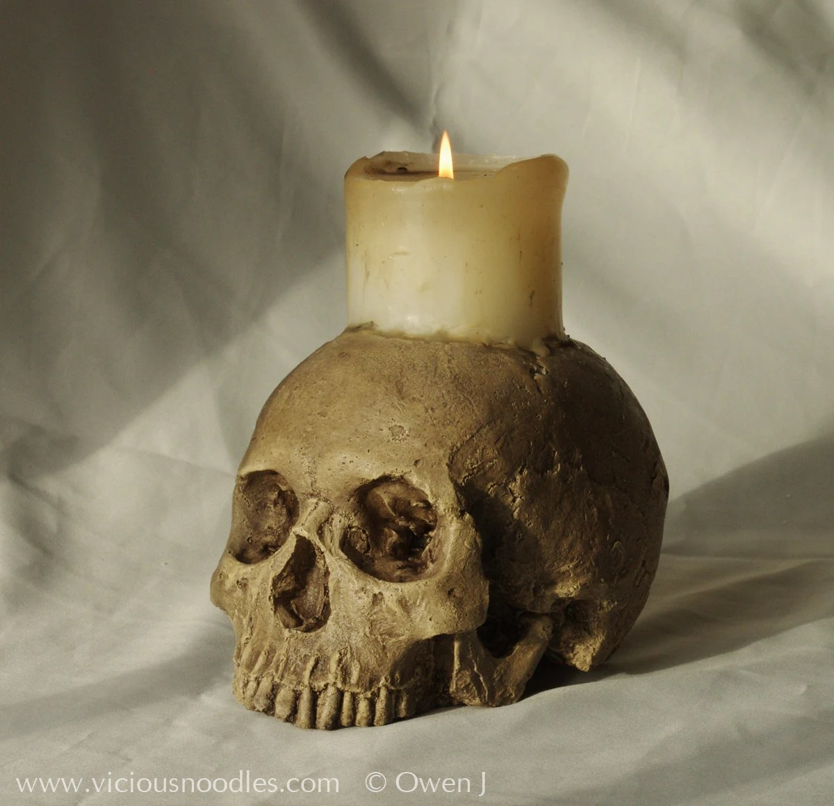 SKULL CANDLE HOLDER full size human skull candle by