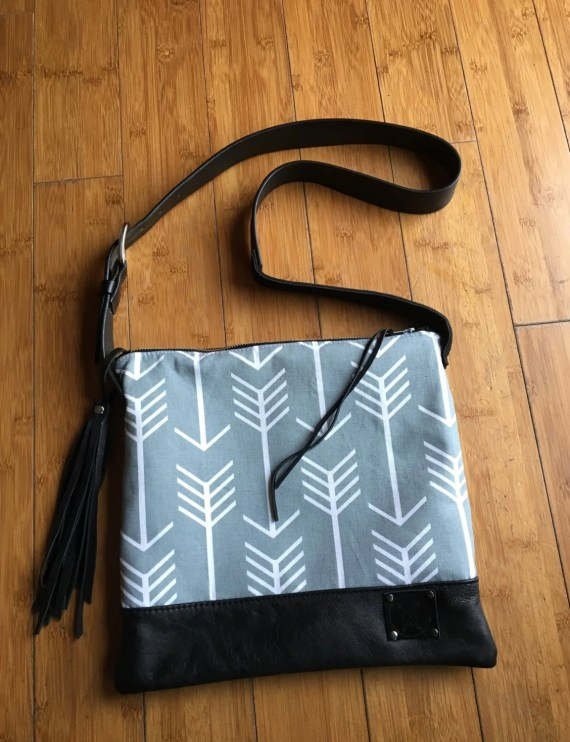 Leather & Canvas Bag, Black Repurposed Leather Bag, Grey and White Arrow Canvas bag, Leather Crossbody bag with Fringe, Black, White, Grey