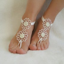 Ivory Barefoot Silver Frame French Lace Sandals Wedding