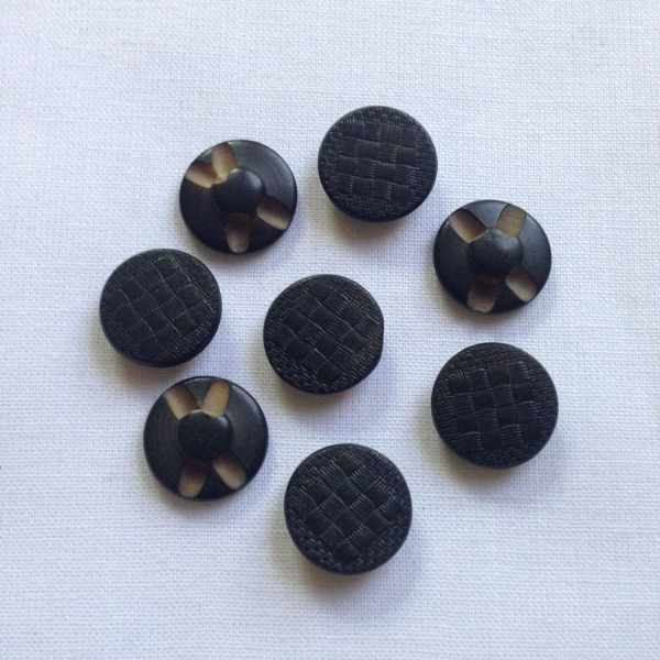 Set Of 8 Black Vegetable Ivory Tagua Buttons
