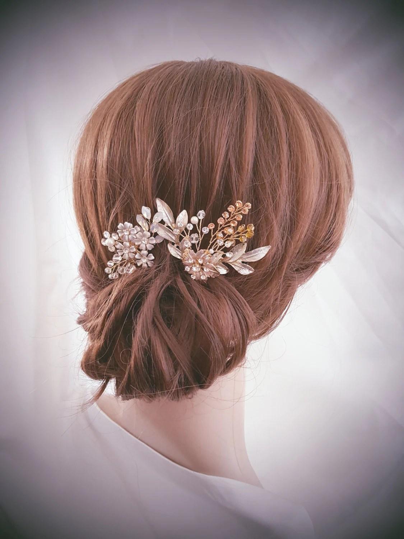 Bridal Hair Pin Wedding Hair Comb Bridal Comb Set Gold Hair