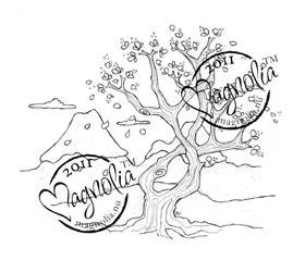 Magnolia Japanese Tree of Luck Background Stamp from