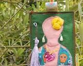 Luggage tag with Frida Kahlo inspiration, boho travel tag, colorful