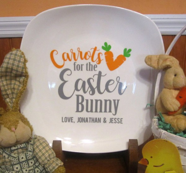Carrots Easter Bunny Personalized Plate