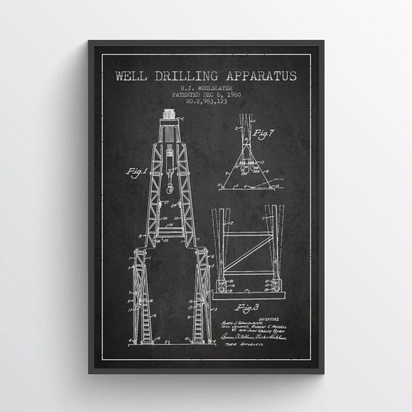 1960 Drilling Apparatus Patent Wall Art Poster Oil