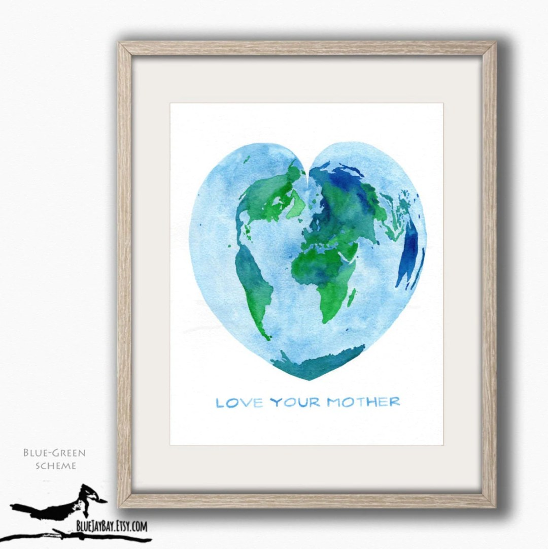 Valentine Heart Map - World Map Watercolor - Home Sweet Home Adventure Awaits, Heart Shaped Mother Earth Art Map Decor, Wanderlust Wall Art