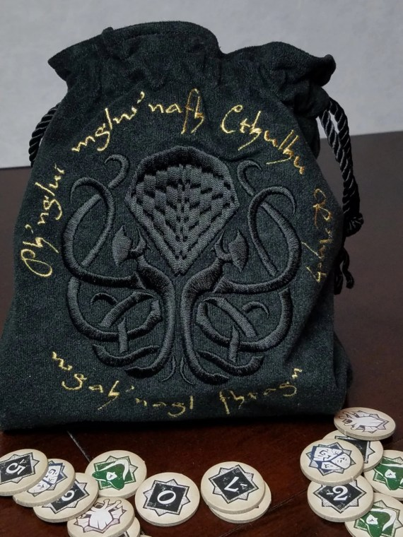 Exclusive Cthulhu Embroidered Lined XL Drawstring Tile/Dice Bag - Made to Order