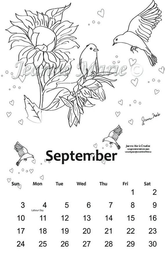 Coloring Calendar 2017 July, August, September