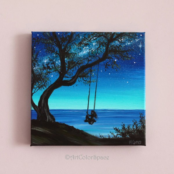 Small Painting Girl Tree Swing Art Summer Day Oil