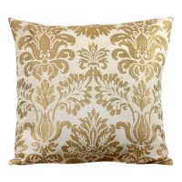 White and Gold Leaf Decorative Pillow Cover 24 Inch Euro 20