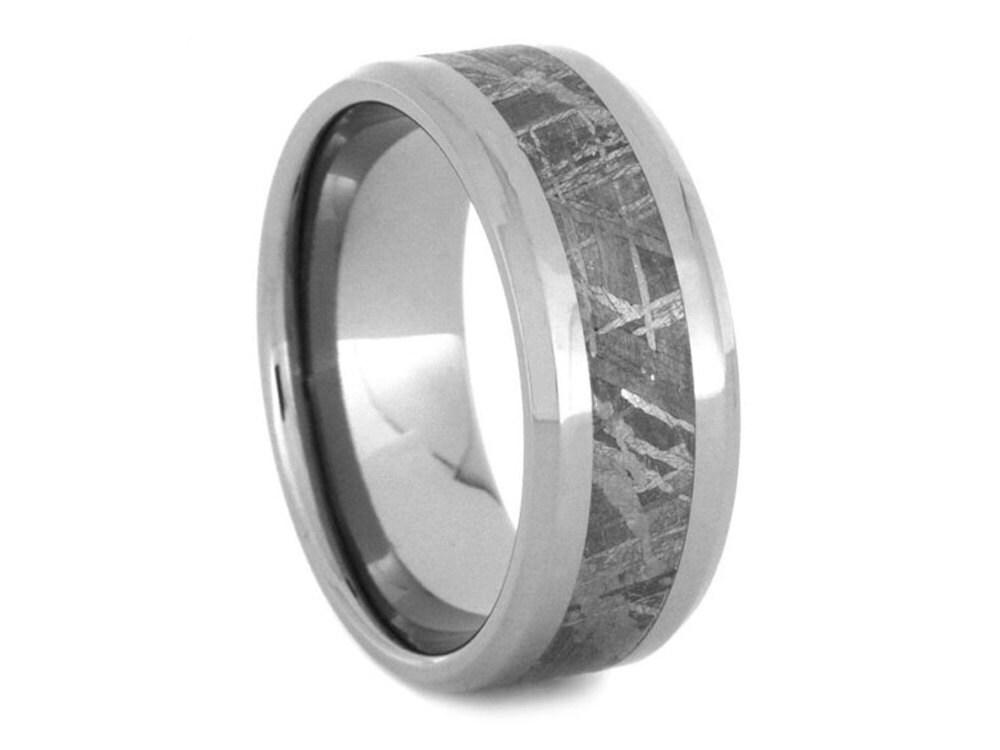 Meteorite Wedding Ring for Men Titanium Wedding Band with
