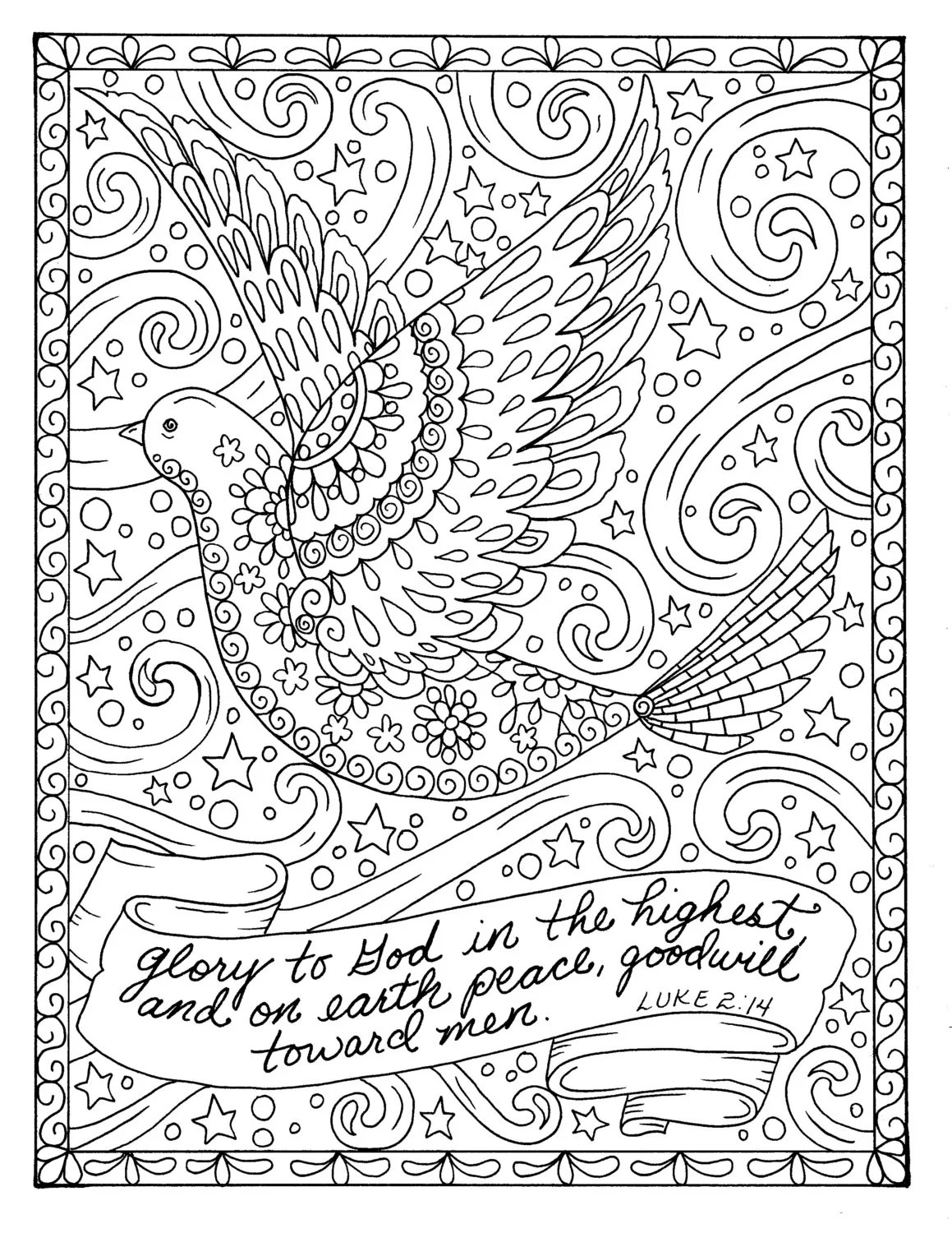 Christmas Coloring Page Dove Christian Scripture Adult Digi