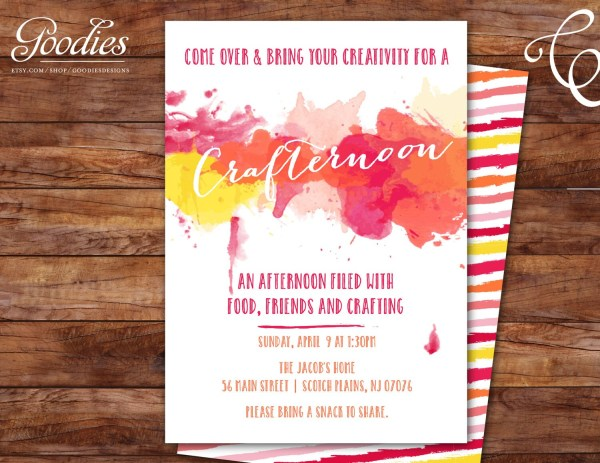 Crafternoon Paint Night Craft Art Party Invitation