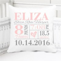 Girls Birth Announcement Pillow Baby Pink and Grey XO