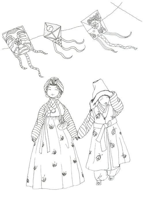 Korean traditional cloth HANBOK Coloring book