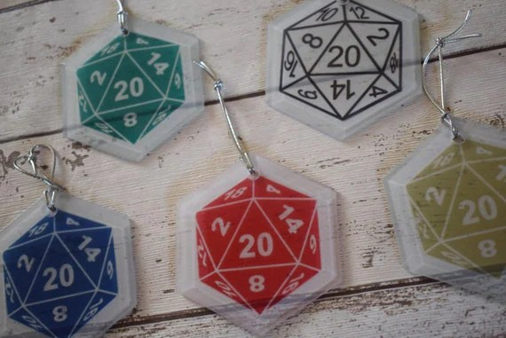 Set of 5 D20 Glass Decorations, Dungeon and Dragon Ornaments