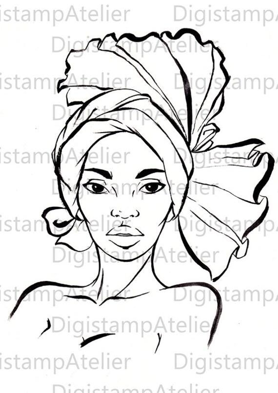 African Woman II. INSTANT DOWNLOAD Digital Digi Stamps.