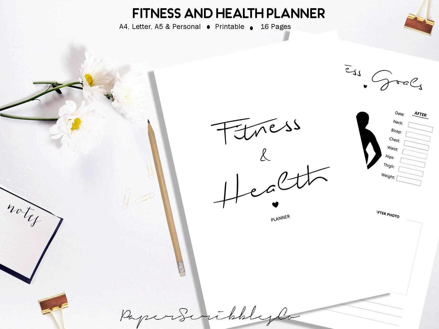 Fitness Planner Printable Health Planner Workout Diary