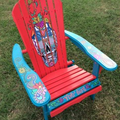 Custom Folding Chairs Hanging Chair Karachi Hand Painted Red Sugar Skull Adirondack Unique Gift