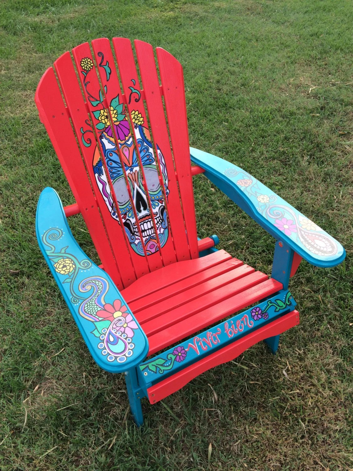 Teal Adirondack Chairs Hand Painted Red Sugar Skull Adirondack Chair Unique Gift