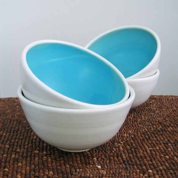 Ceramic Soup Bowls Small Cereal In Turquoise Blue Set