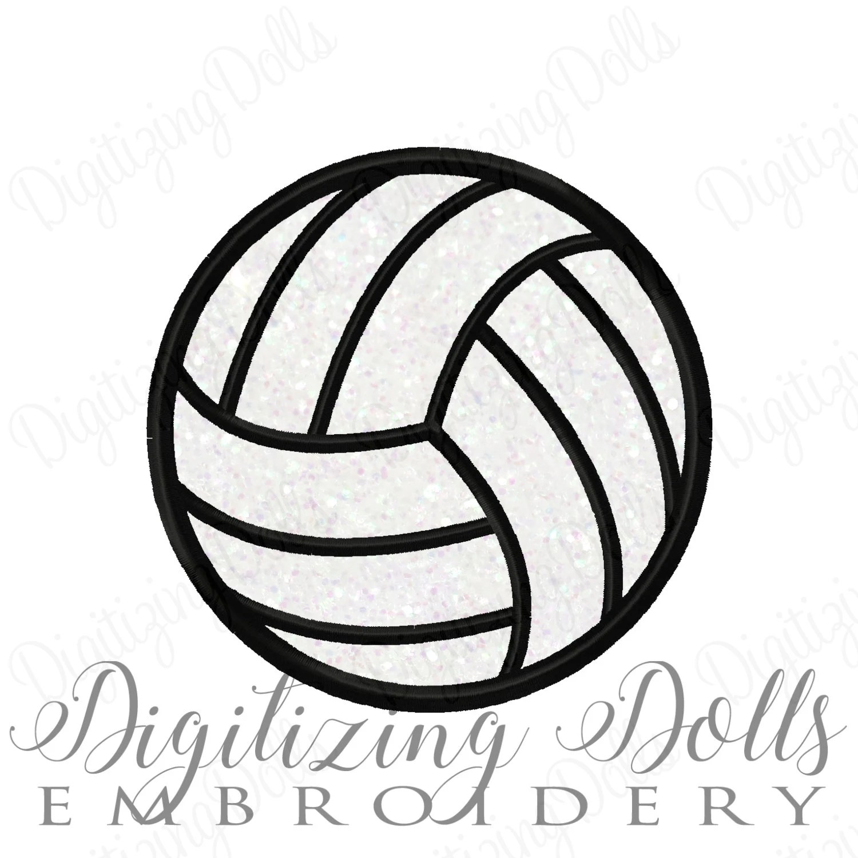 Volleyball Applique Machine Embroidery Design 2x2 3x3 4x4