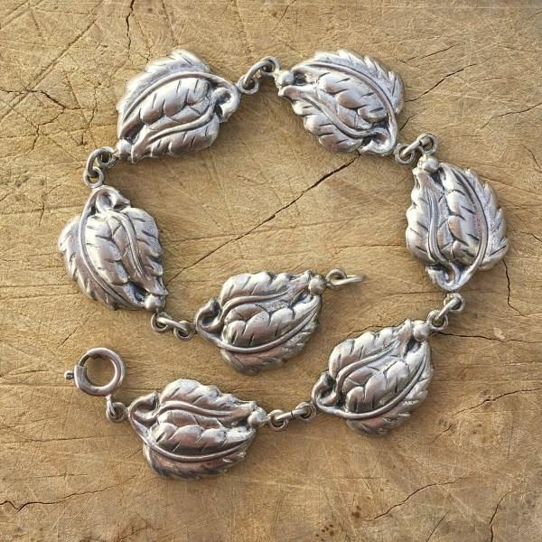 Vintage Danecraft Sterling Silver Leaf Bracelet