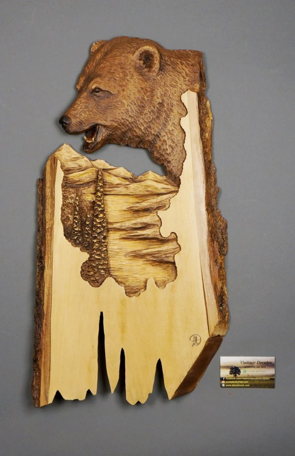 Bear Carved Wood Carving With Bark Hand Wall