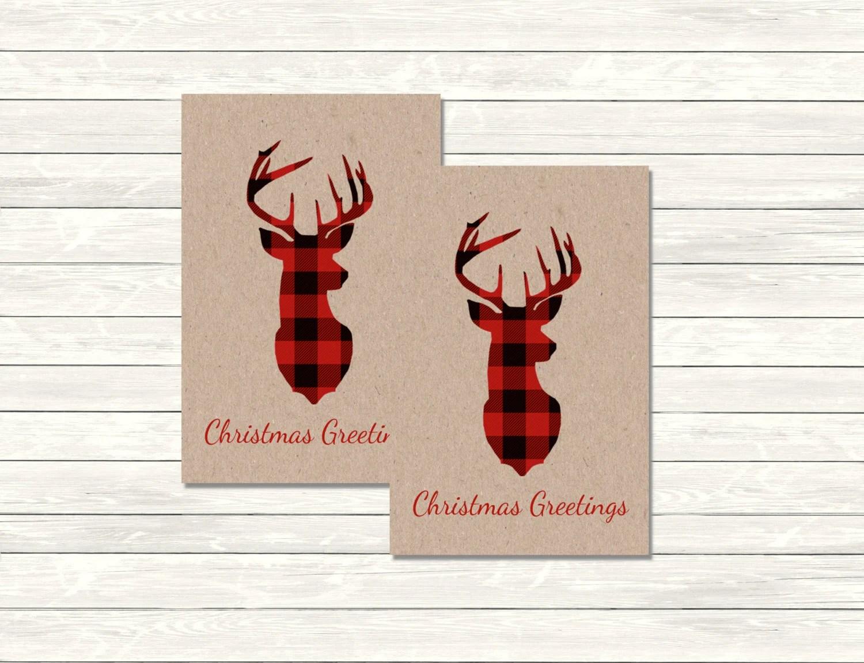 Deer Christmas T Tags Printable Stag Christmas Greetings Tags Rustic Kraft Red Plaid Tags