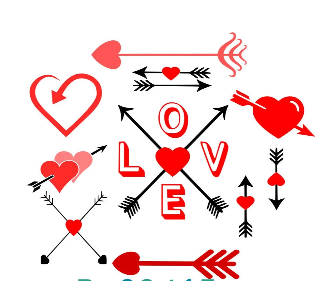 Download Love Arrows SVG EPS Dxf and Printable PNG Silhouette Arrow