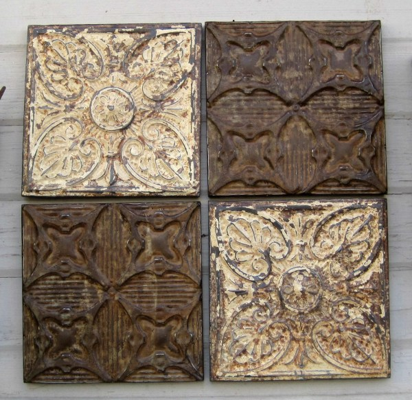 Antique Ceiling Tin Tiles. Set Of 4 Framed. Rustic & Chippy