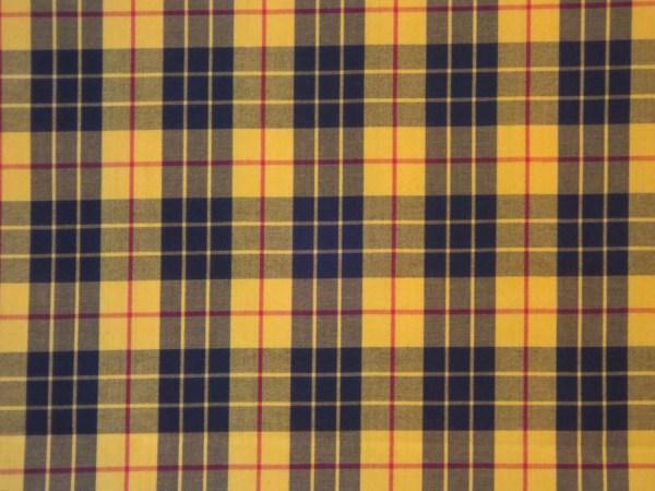 Classic Yellow & Black Tartan Plaid Fine Twill Cotton Shirting