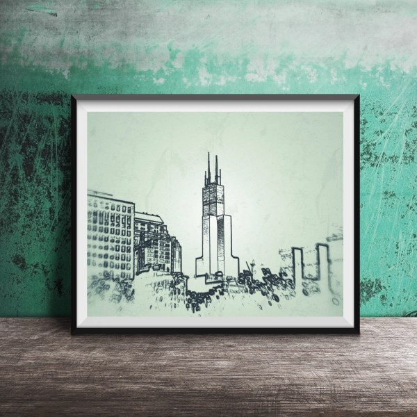 Chicago Art Print Sears Tower Sketch Outline