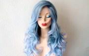 ombre wig. pastel grayish blue