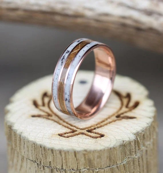 10K Rose Gold Ring W Whiskey Barrel Amp Antler Inlays