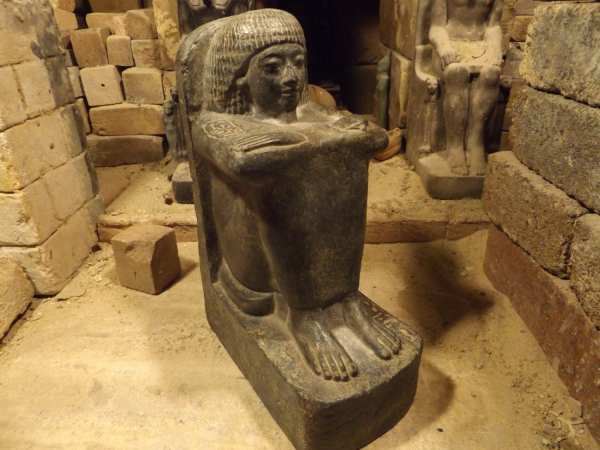 Egyptian Block Statue - Museum Replica Sculpture. Reign Of
