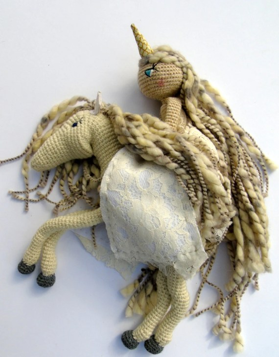 Crochet Doll & Pegasus dolls- Crochet, Unicorn, Amigurumi, heirloom, Cloth Doll - Moon - ready to ship - stars - galaxy - universe