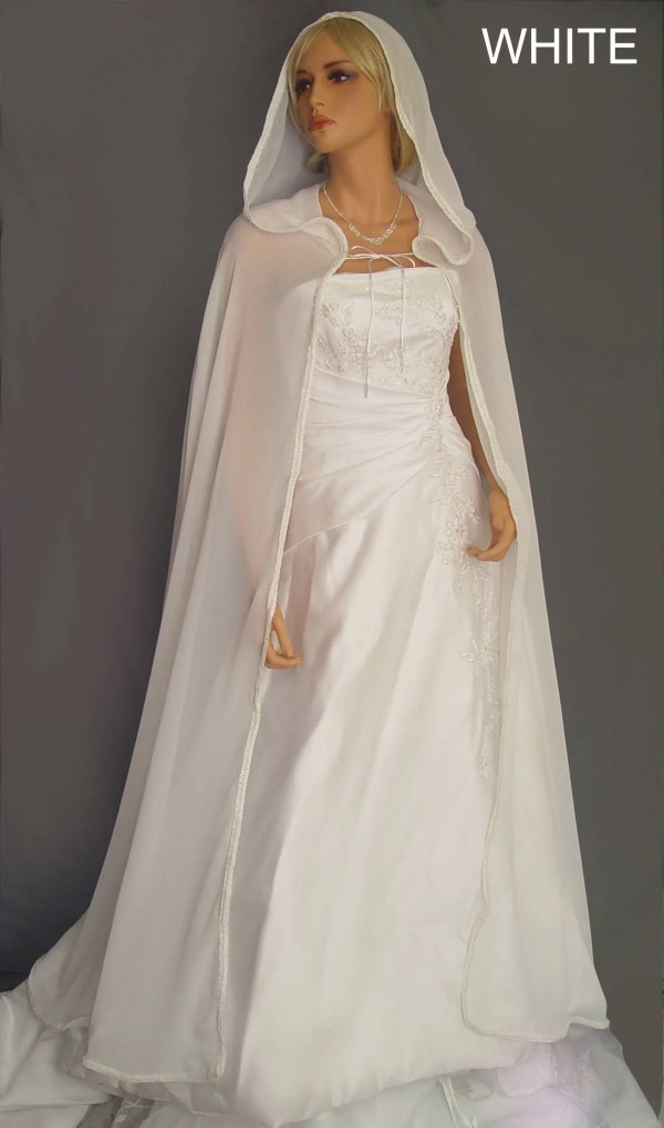 Wedding Dress with Hooded Cape