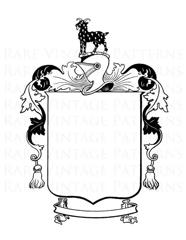 Medieval COAT of ARMS Printable Goat Helmet Image With