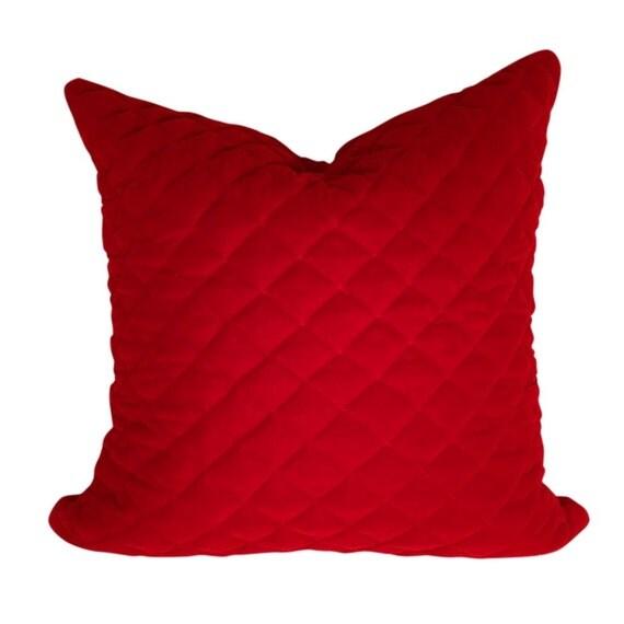 Red Velvet Pillow Cover Quilted Fabric Pillow Velvet Pillow