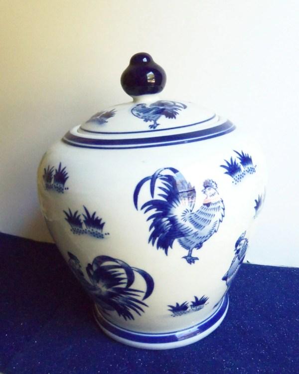 Cobalt Blue Ceramic Cookie Jar